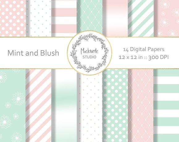 Mint And Blush Digital Paper