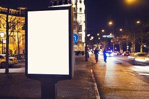 Kiosk billboard at night