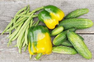 Peppers, cucumbers and peas