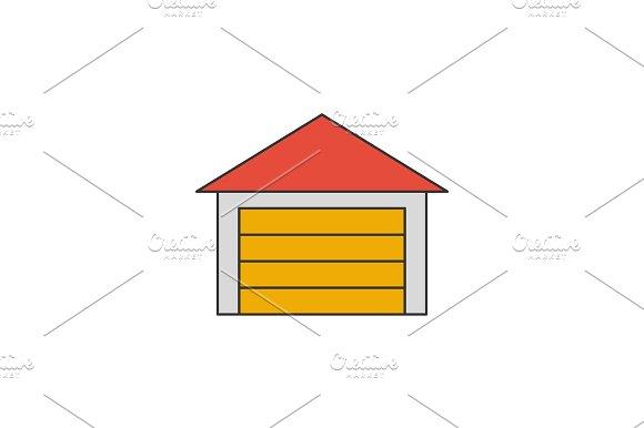 Garage Flat Line Icon