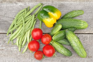 Tomatoes, cucumbers, peas and pepper
