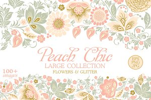 Glitter Floral Peach chic. 50% off