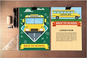 Posters with school bus