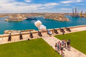 Shot from cannon in Valletta, Malta.