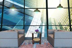 Lobby area of a hotel