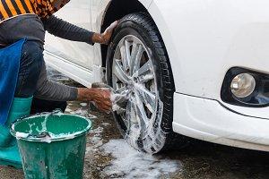 Washing car's wheels