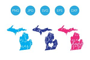 Michigan SVG Cut Files and Clipart