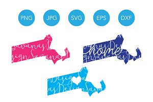 Massachusetts SVG Cut Files Clipart