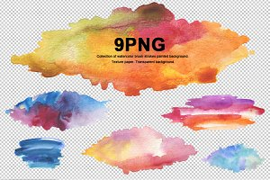 9 png watercolor brush strokes