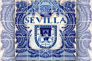 Seville Ceramic Tiles Vector Blue