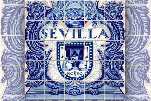 Seville Ceramic Tiles Vector Blue