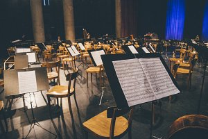 Empty stage classical music concert