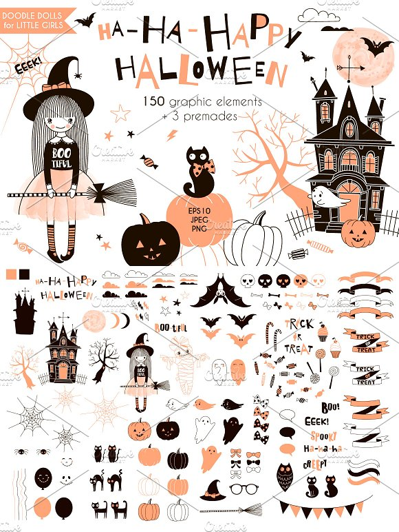 Cute Halloween graphic kit ~ Illustrations ~ Creative Market