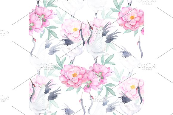 Seamless Pattern With Crane