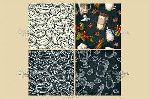 Seamless pattern coffee set