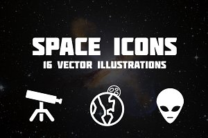 Space Icons - Set of 16 Vectors