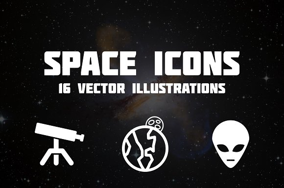 Space Icons Set Of 16 Vectors