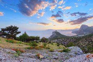 Crimea sunrise coastline landscape