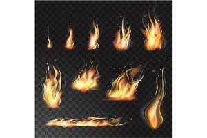 Set of transparent realistic flames