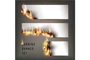 Hot fire banners set