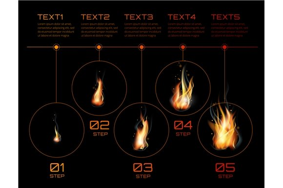 Realistic Fire Flames Infographics
