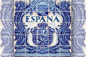 Spain Ceramic Tiles Vector Blue