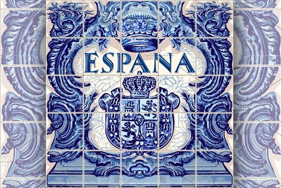 Spain Ceramic Tiles Vector Blue