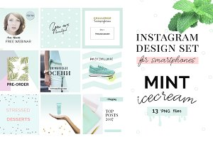 Instagram design set - Mint Icecream