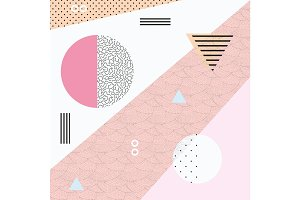 Light pink Geometric seamless vector pattern in memphis style