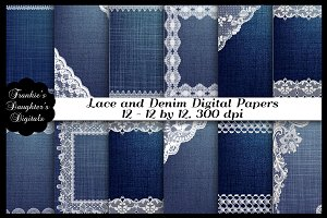Lace and Denim Digital Papers