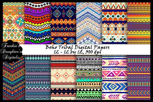 Boho Tribal Digital Papers