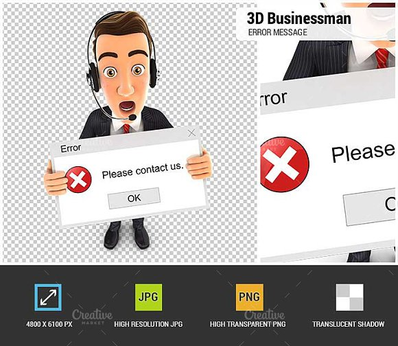 3D Businessman Error Message