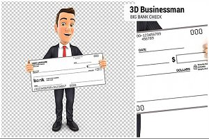 3D Businessman Big Bank Check