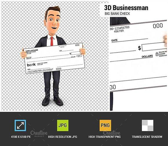 3D Businessman Big Bank Check