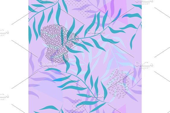 Violet Geometric Seamless Vector Pattern In Memphis Style
