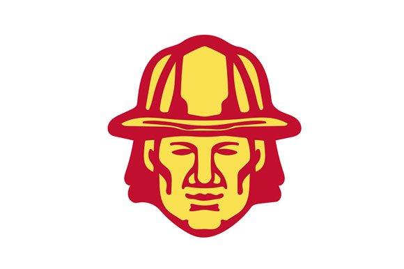 Fireman Head Front Retro