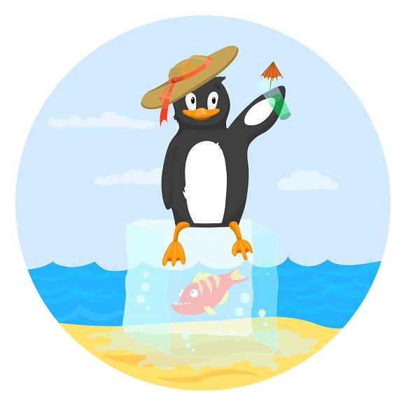 Happy Penguin On Block Of Ice