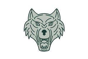 Gray Wolf Head Mono Line