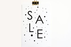 Sale Sign with Gold Clip