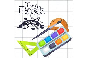 Time Back to School Poster with Pens, Stationery