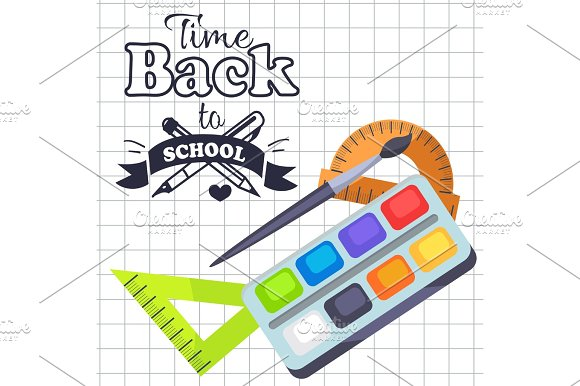 Time Back To School Poster With Pens Stationery