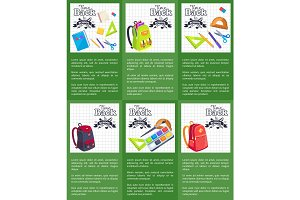 Time Back to School Posters with Schoolbags Books