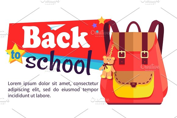 Back To School Poster With Schoolchild Rucksack