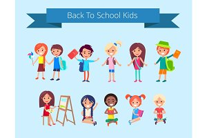 Back to School Kids Isolated illustration