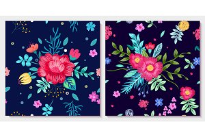 Ornamental Floral Background with Colorful Flowers