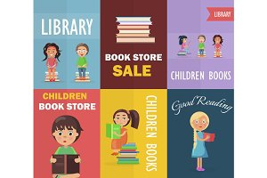 Bookstore Sale and Children Library with Readers