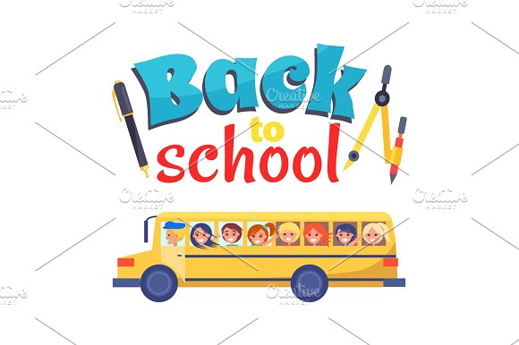 Back To School Poster Stationary Itema And Bus