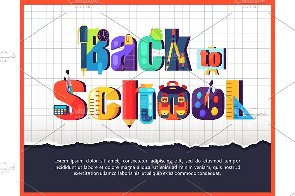Back To School Posteron On Checkered Background
