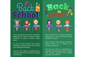 Back to School Posters with Stationary and Pupils