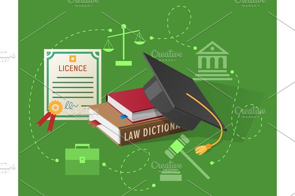 Lawyers Licence Books On Law And Academic Hat